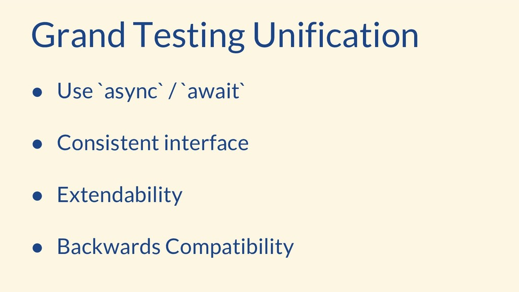 ● Use `async` / `await` ● Consistent interface ...