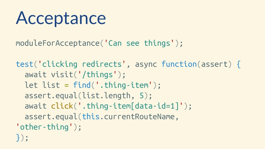 Acceptance moduleForAcceptance('Can see things'...