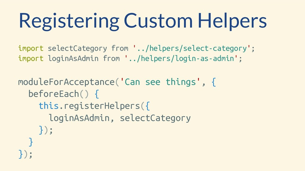 Registering Custom Helpers import selectCategor...