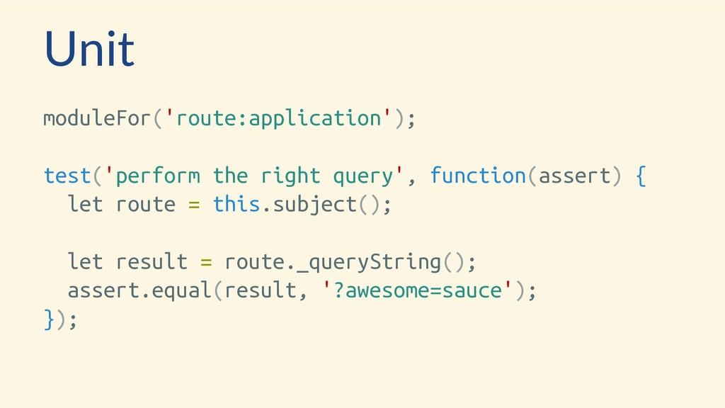 Unit moduleFor('route:application'); test('perf...