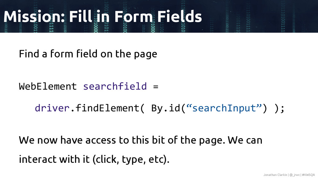Find a form field on the page WebElement search...