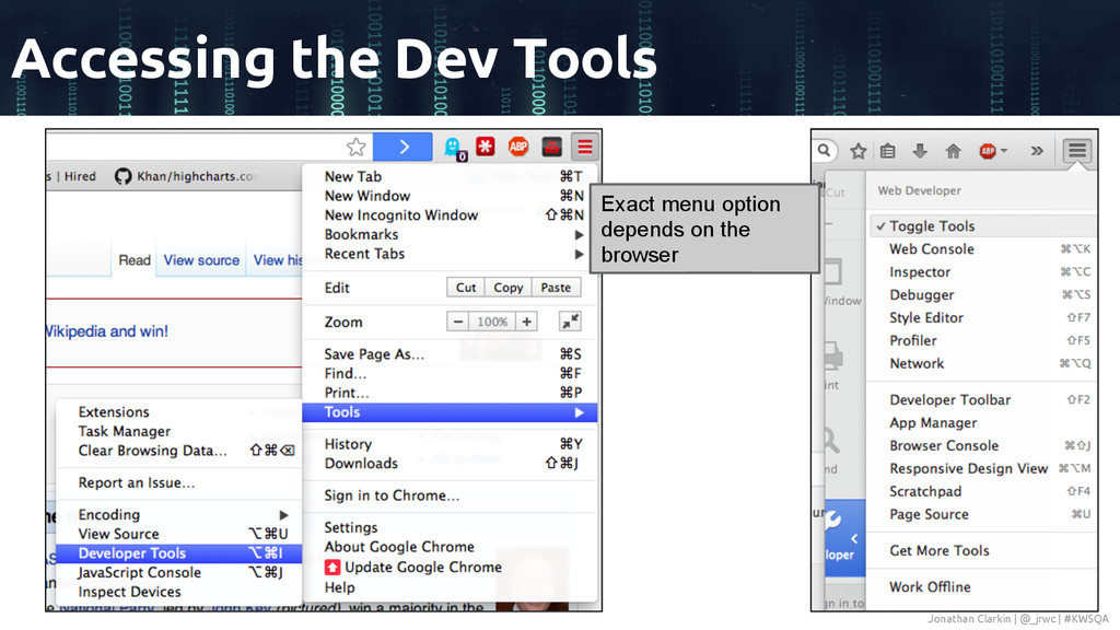 Accessing the Dev Tools Exact menu option depen...