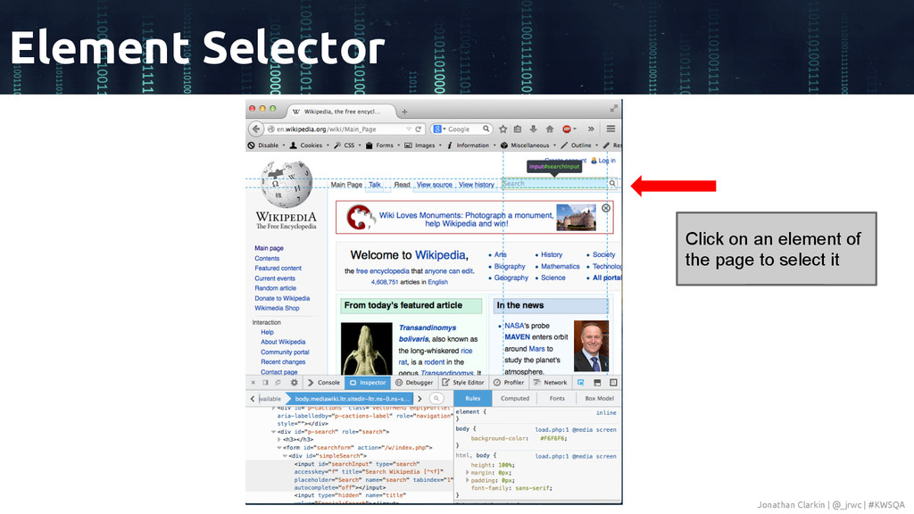 Element Selector Click on an element of the pag...