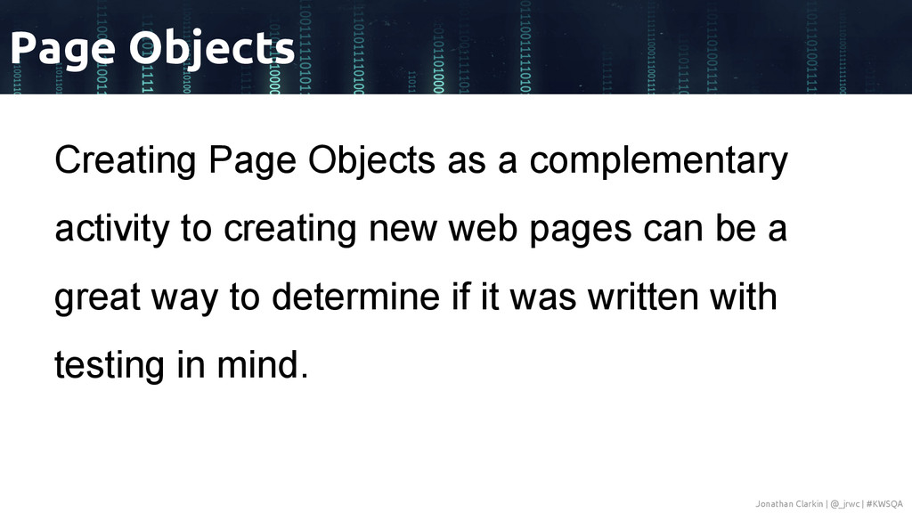 Creating Page Objects as a complementary activi...