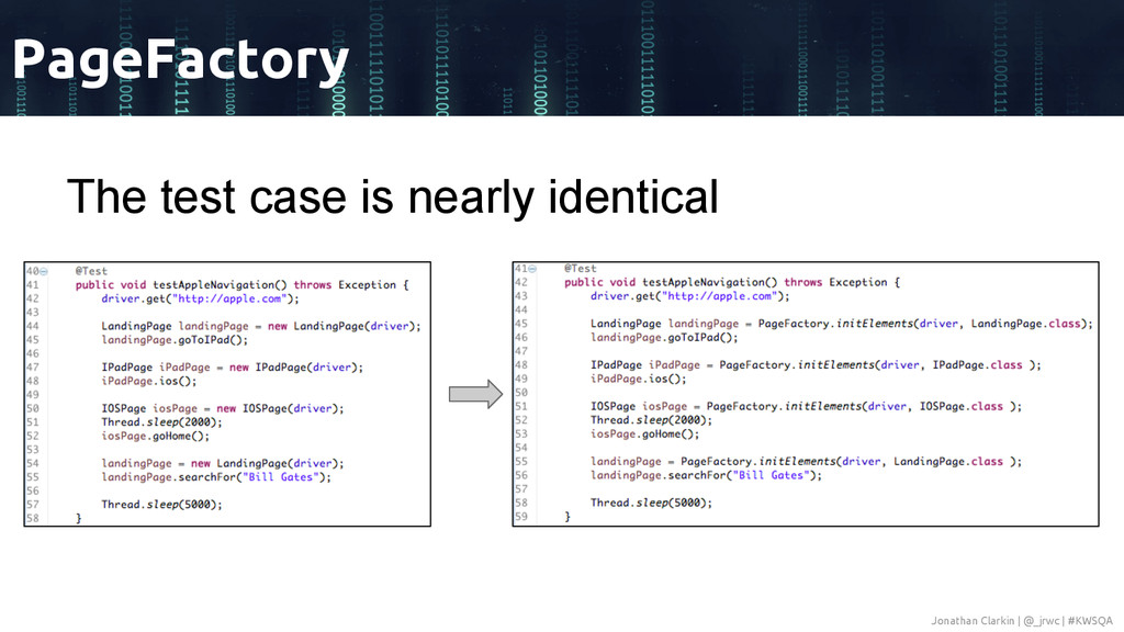 The test case is nearly identical PageFactory J...