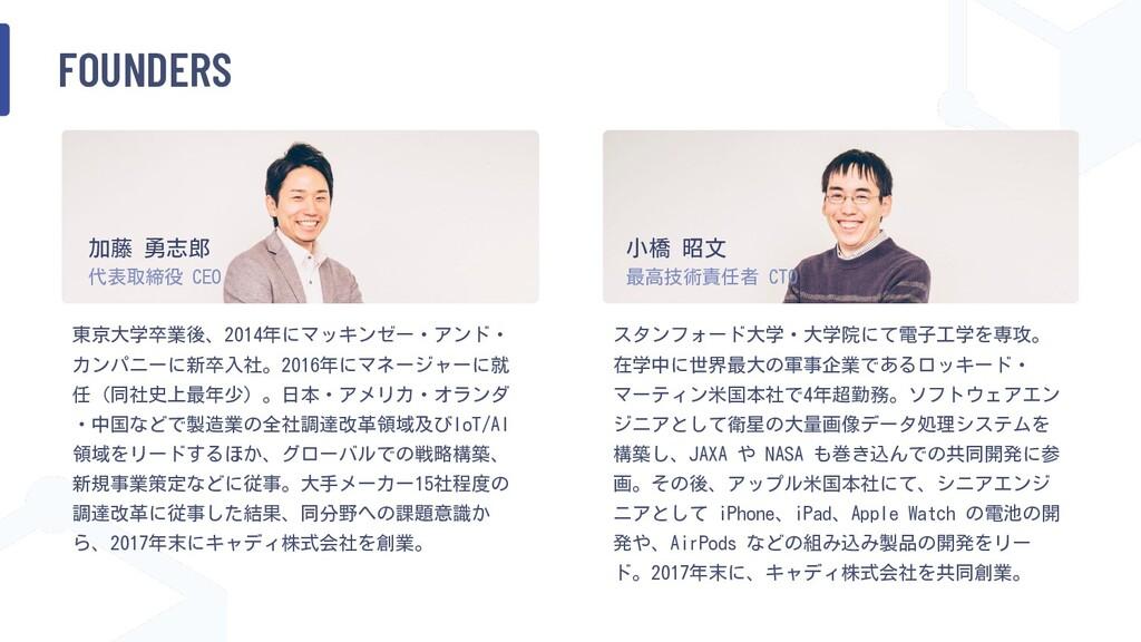 FOUNDERS 東京大学卒業後、2014年にマッキンゼー・アンド・ カンパニーに新卒入社。2...