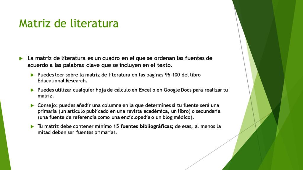 Matriz de literatura u La matriz de literatura ...