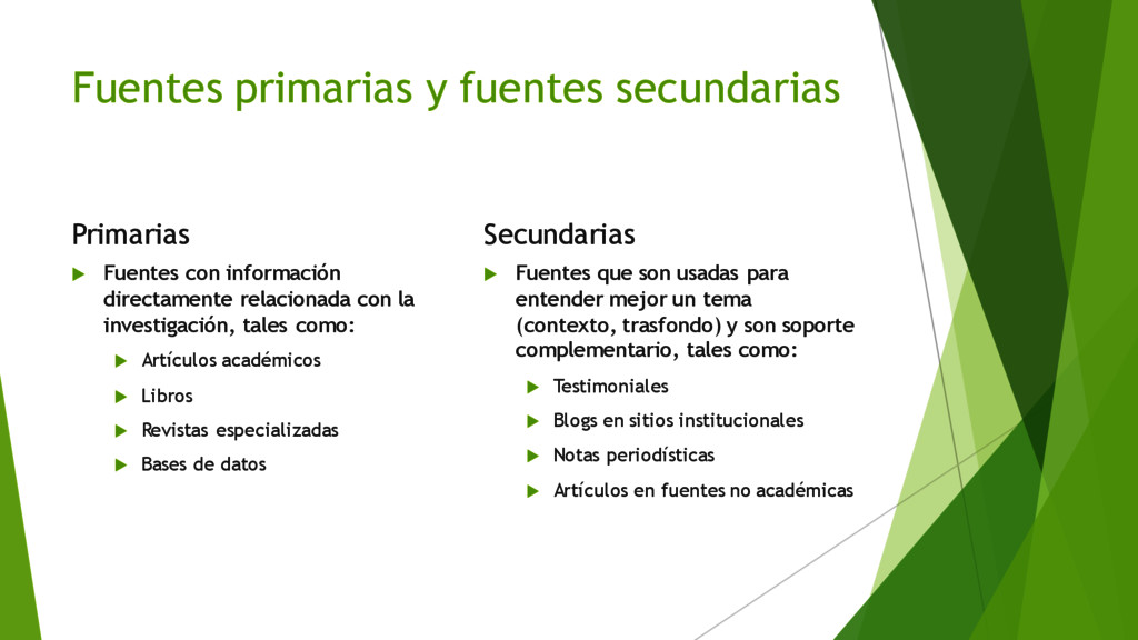 Fuentes primarias y fuentes secundarias Primari...