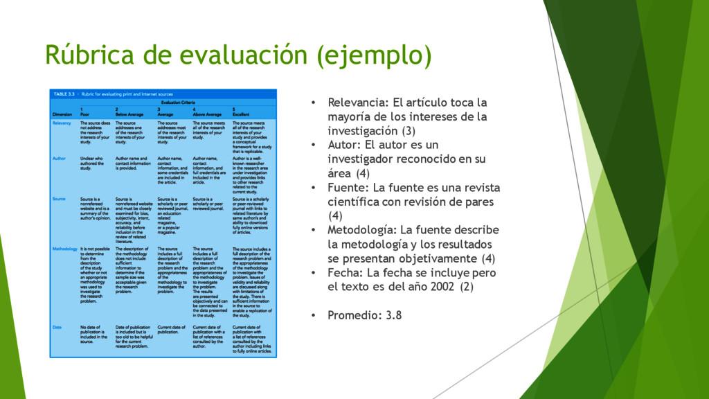 Rúbrica de evaluación (ejemplo) • Relevancia: E...
