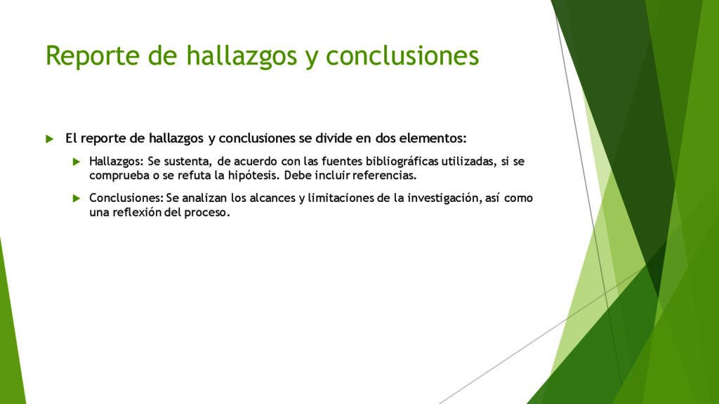 Reporte de hallazgos y conclusiones u El report...