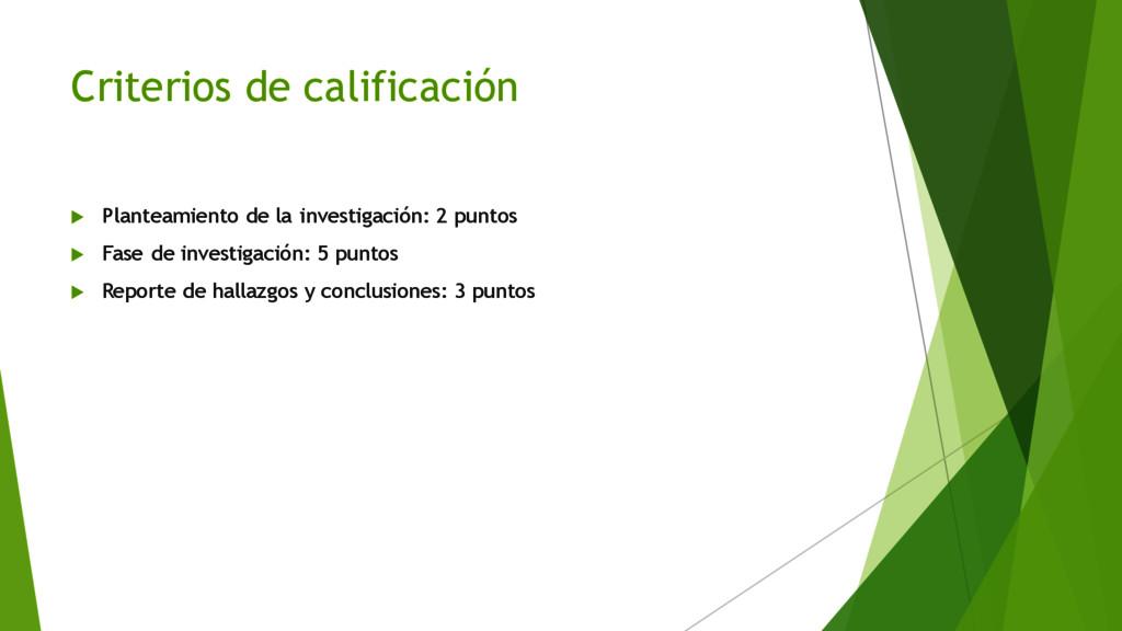 Criterios de calificación u Planteamiento de la...
