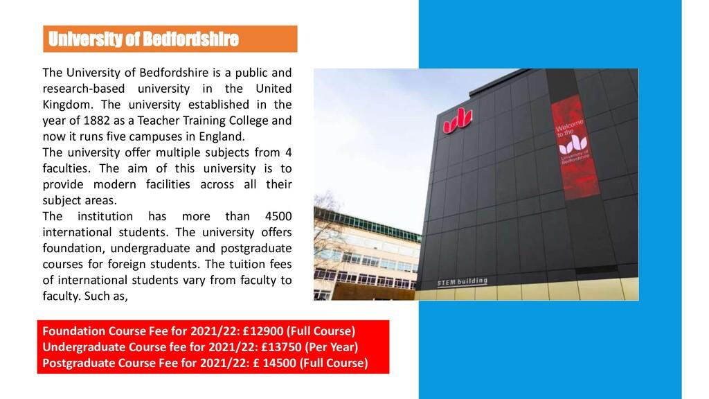 U N I V E R S I T Y University of Bedfordshire ...