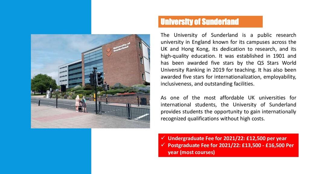 University of Sunderland U N I V E R S I T Y Th...