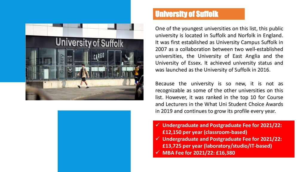 University of Suffolk One of the youngest unive...