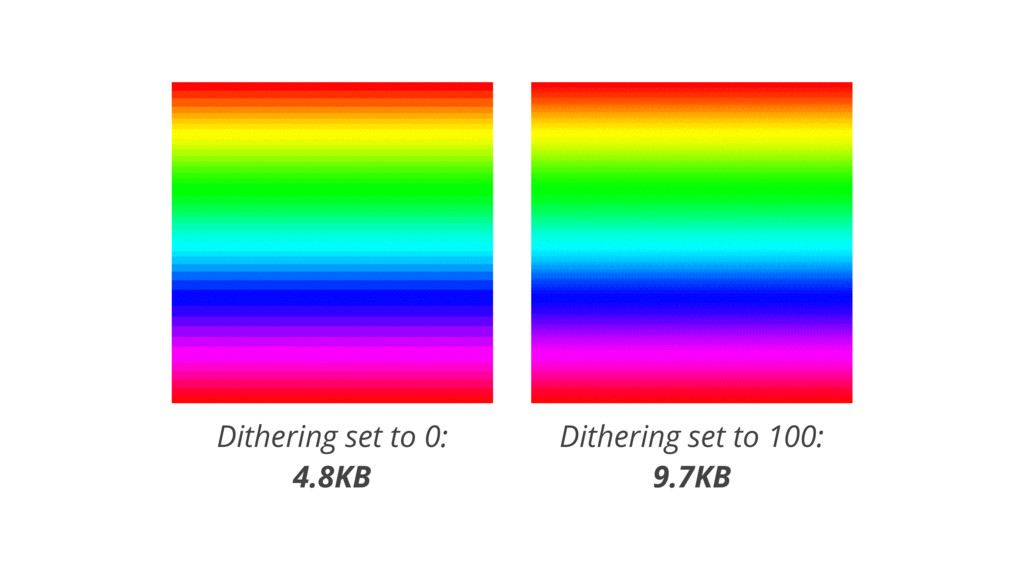 Dithering set to 0: 4.8KB Dithering set to 100:...