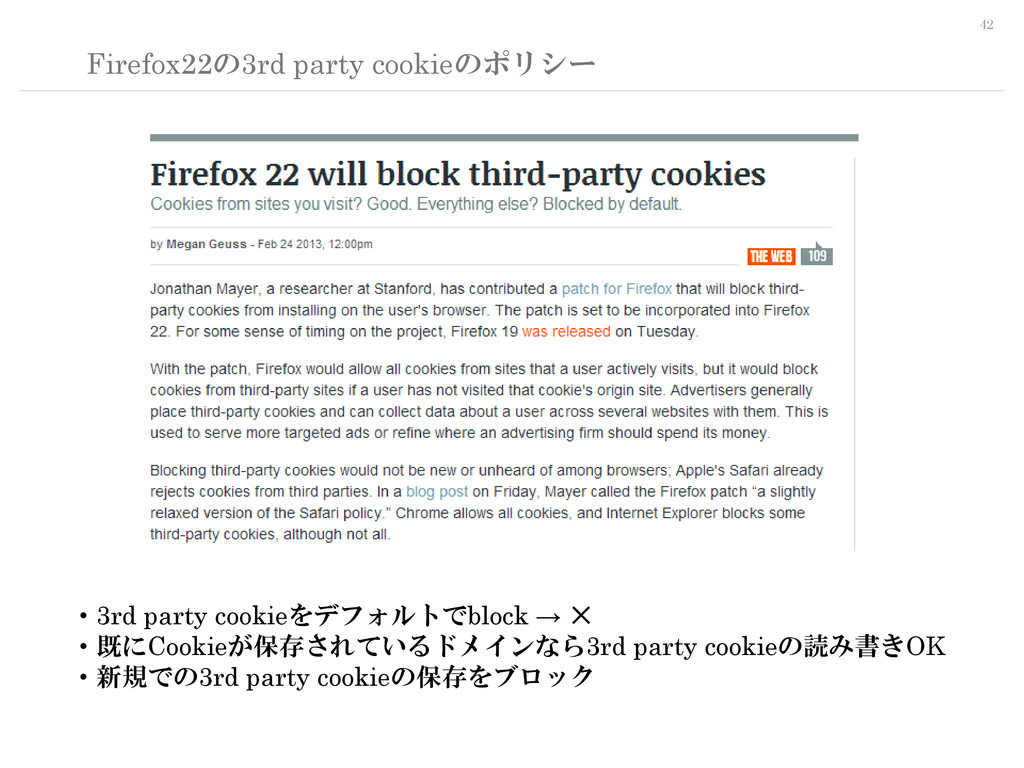 42 Firefox22の3rd party cookieのポリシー ・3rd party c...