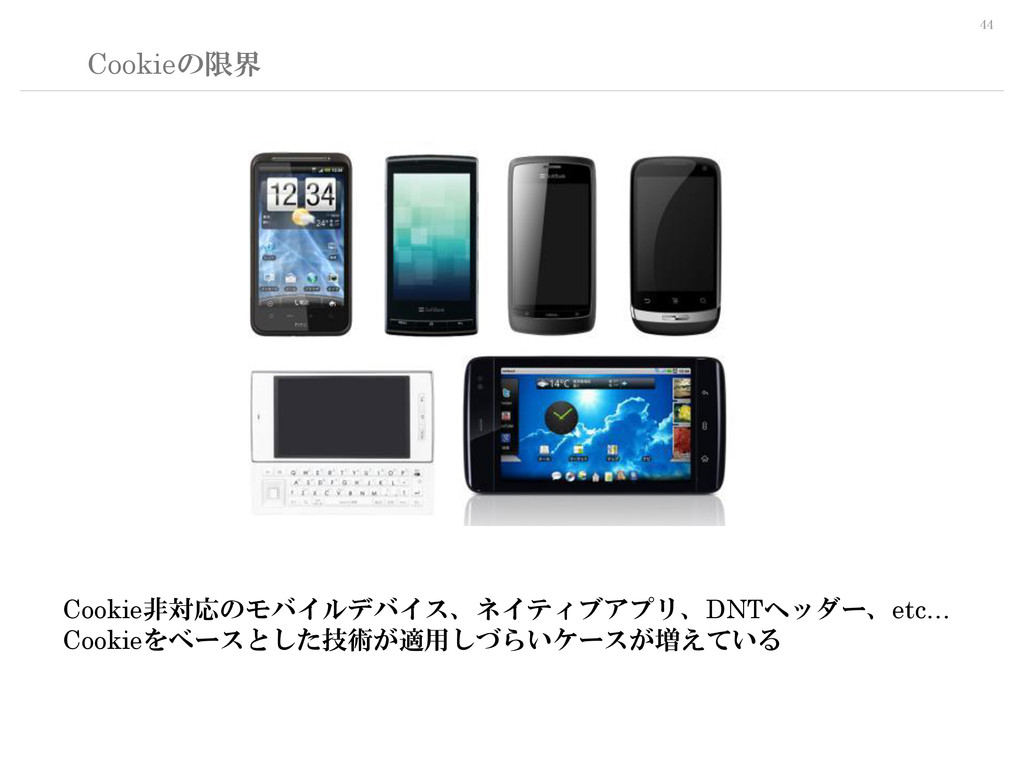 44 Cookieの限界 Cookie非対応のモバイルデバイス、ネイティブアプリ、DNTヘッダ...