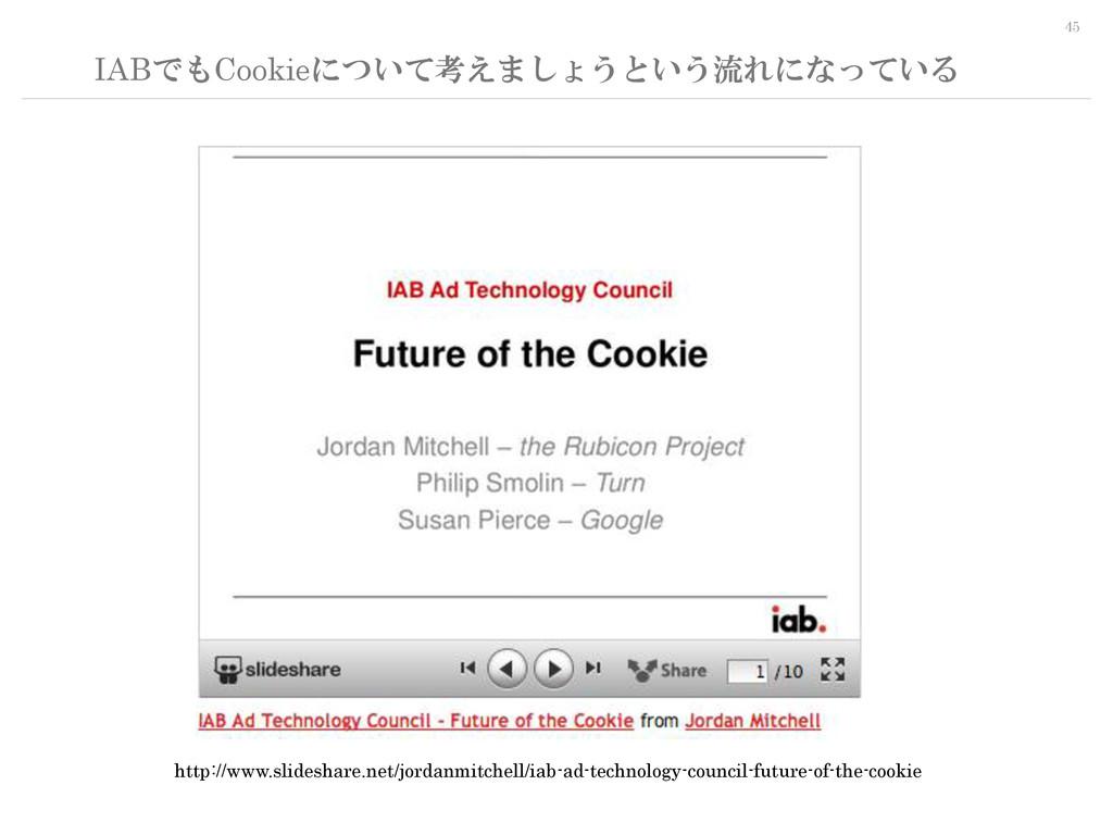 45 IABでもCookieについて考えましょうという流れになっている http://www....