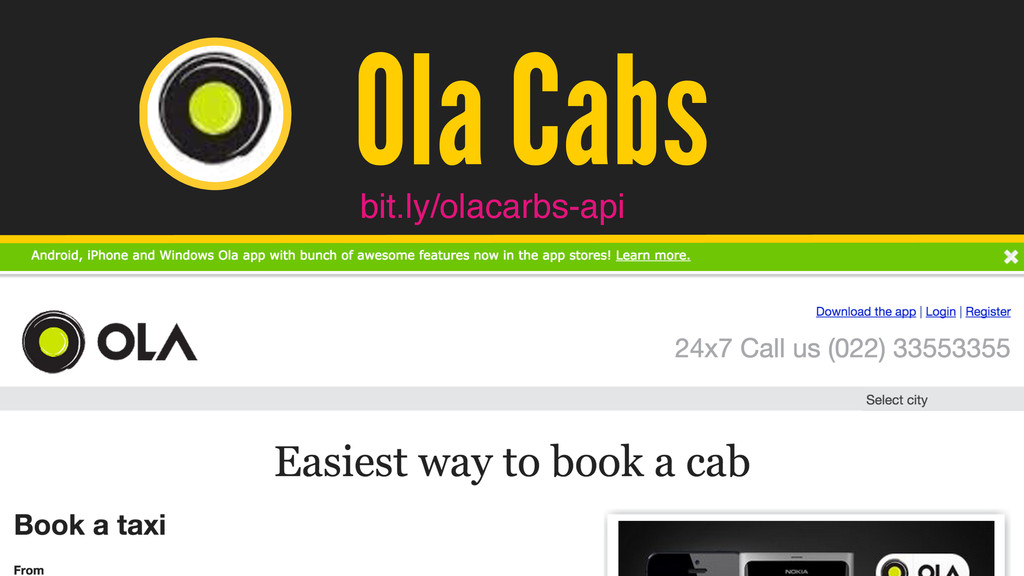 / @hpoom Ola Cabs bit.ly/olacarbs-api