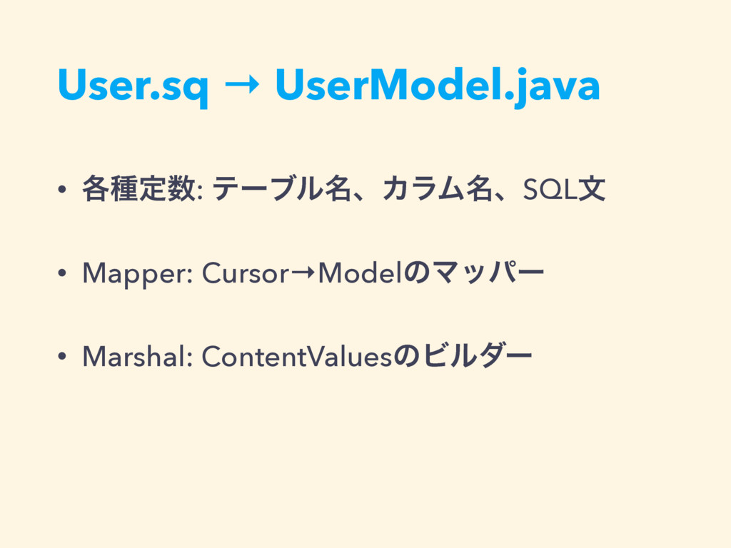 User.sq → UserModel.java • ֤छఆ਺: ςʔϒϧ໊ɺΧϥϜ໊ɺSQL...