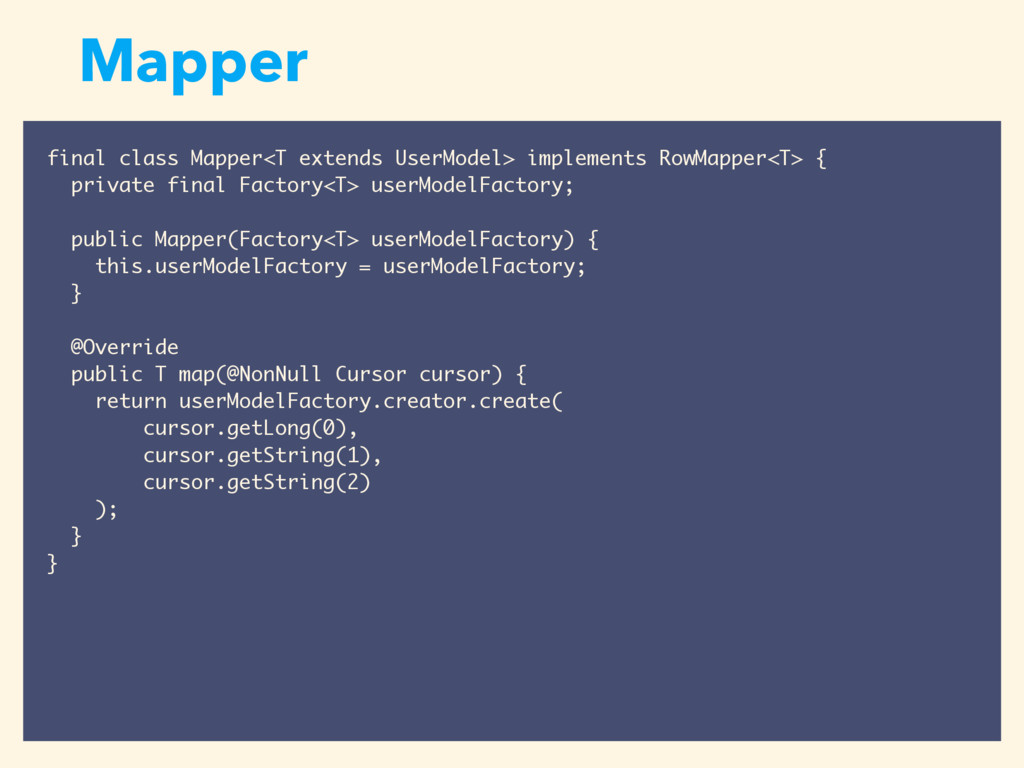 Mapper final class Mapper<T extends UserModel> ...