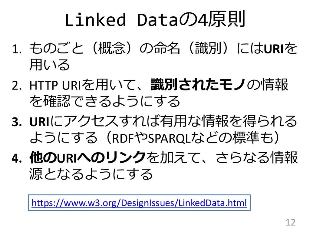 Linked Dataの4原則 1. ものごと(概念)の命名(識別)にはURIを 用いる 2....