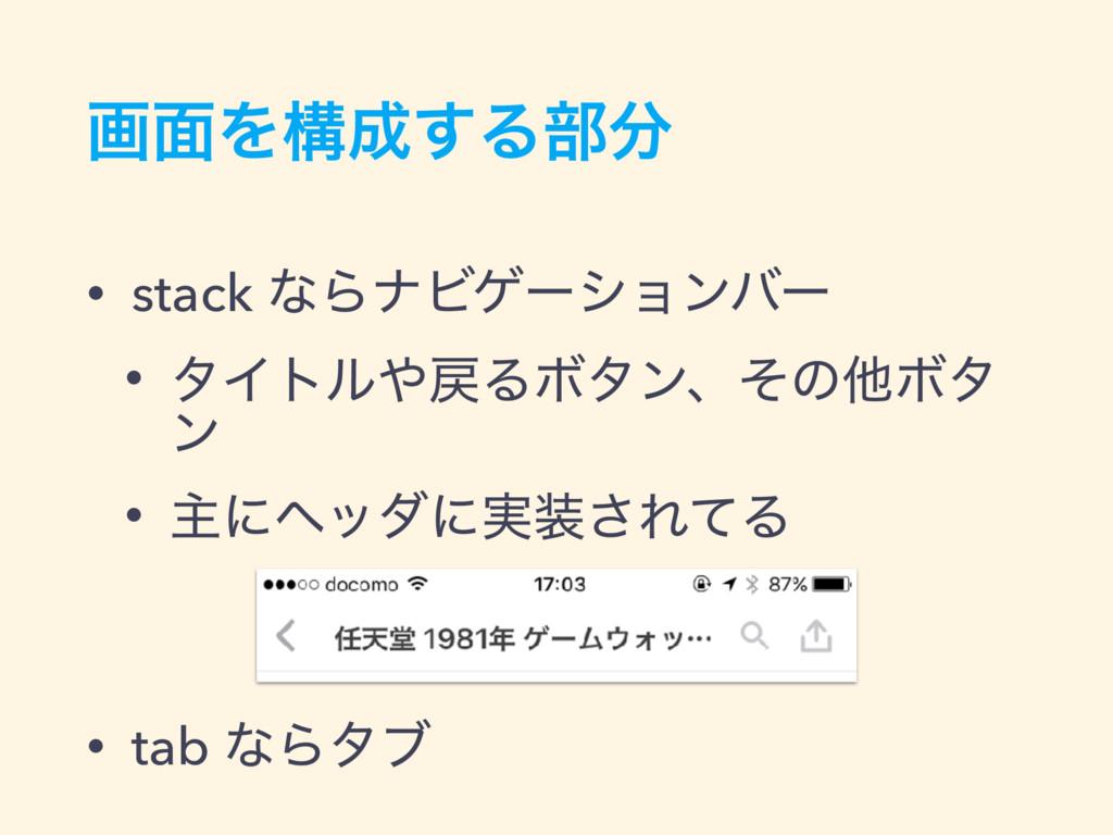 ը໘Λߏ͢Δ෦ • stack ͳΒφϏήʔγϣϯόʔ • λΠτϧΔϘλϯɺͦͷଞϘ...