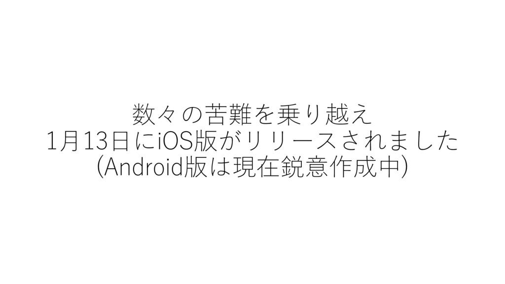 数々の苦難を乗り越え 1⽉13⽇にiOS版がリリースされました (Android版は現在鋭意作...