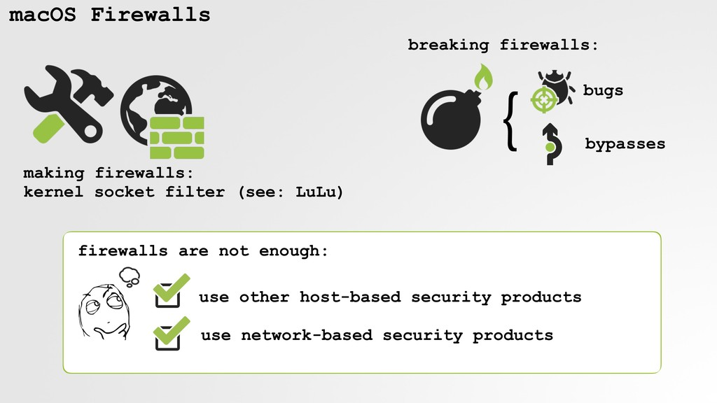 macOS Firewalls kernel socket filter (see: LuLu...