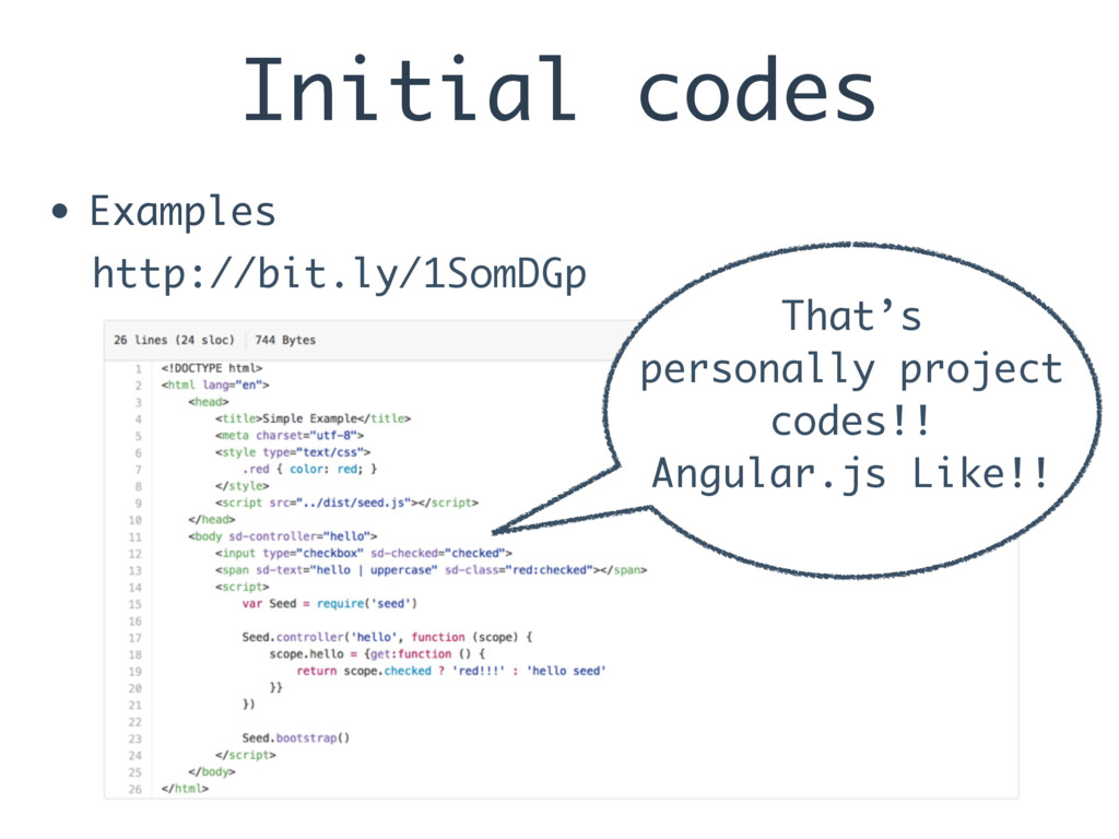 Initial codes • Examples http://bit.ly/1SomDGp ...