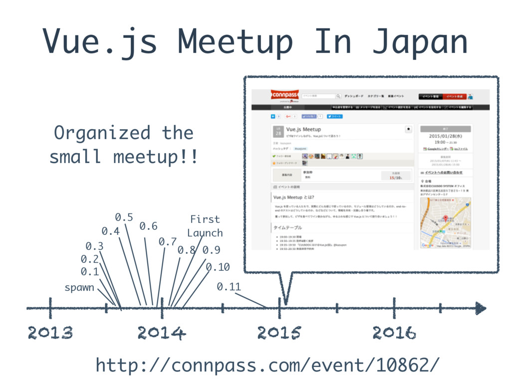 Vue.js Meetup In Japan 2013 2014 2015 2016 spaw...