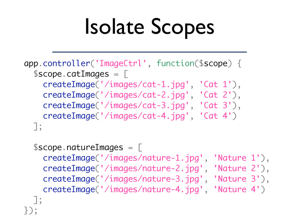 Isolate Scopes app.controller('ImageCtrl', func...