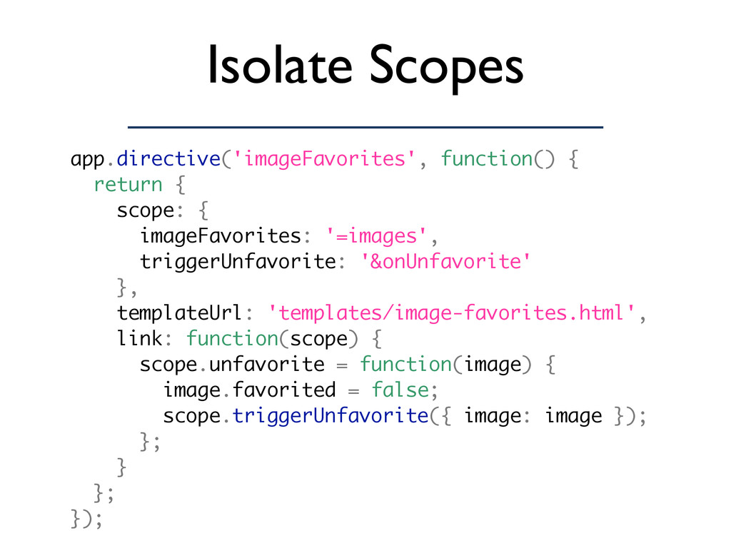Isolate Scopes app.directive('imageFavorites', ...