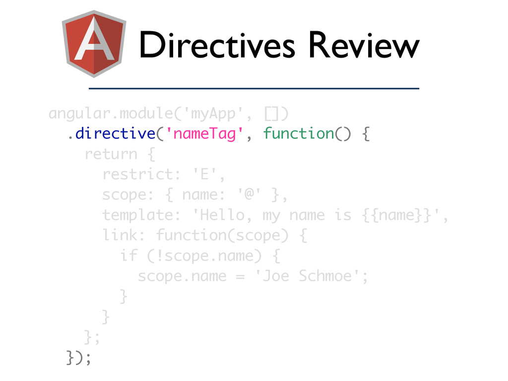 Directives Review angular.module('myApp', []) ....