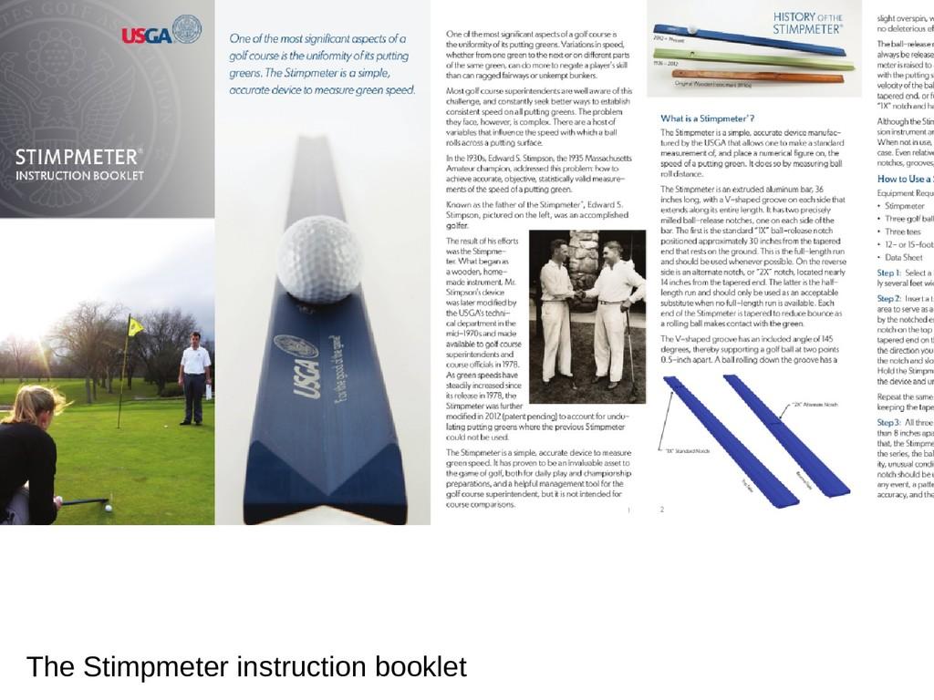 The Stimpmeter instruction booklet
