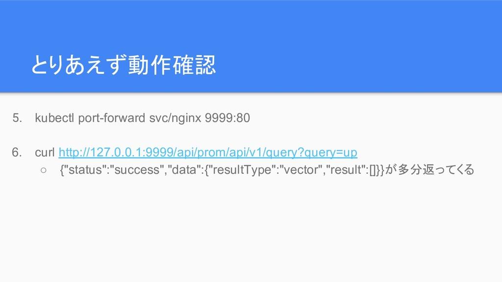 とりあえず動作確認 5. kubectl port-forward svc/nginx 999...