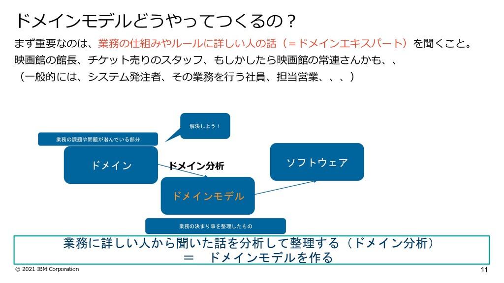 11 © 2021 IBM Corporation まず重要なのは、業務の仕組みやルールに詳し...