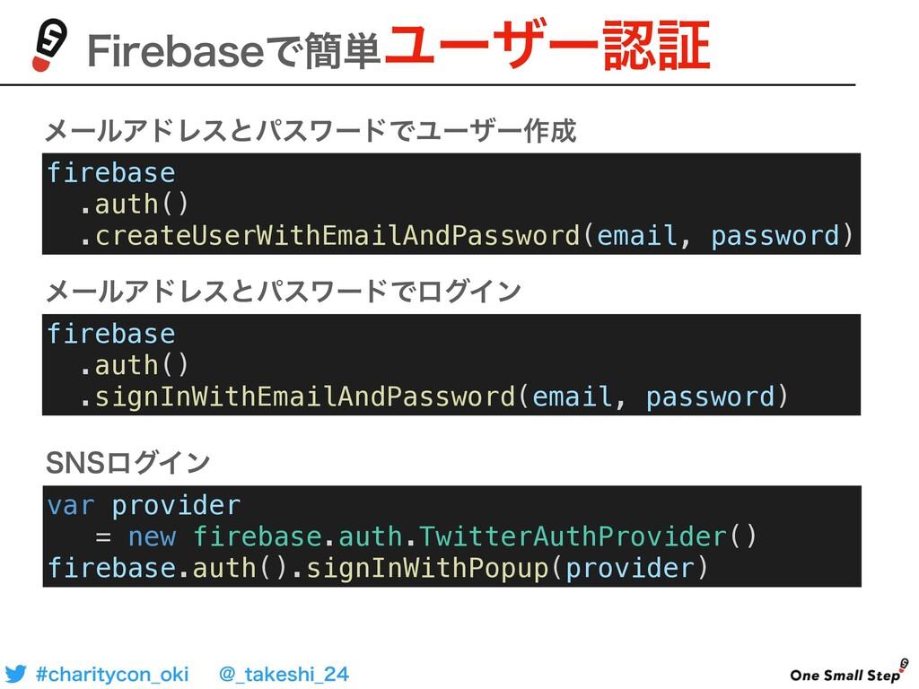 'JSFCBTFͰ؆୯Ϣʔβʔূ firebase .auth() .createUserW...