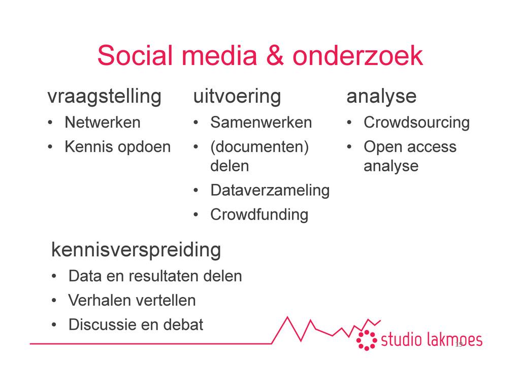 Social media & onderzoek vraagstelling • Netwe...
