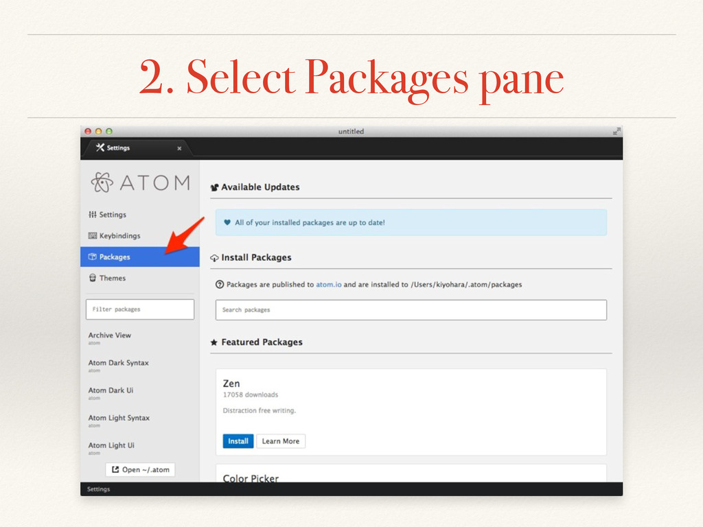 2. Select Packages pane
