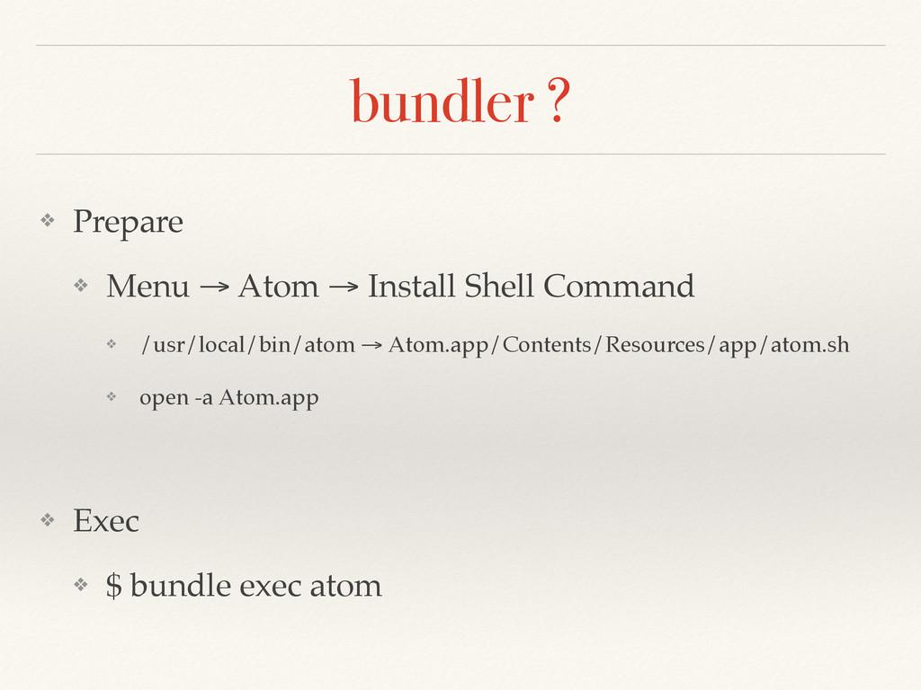 bundler ? ❖ Prepare! ❖ Menu → Atom → Install Sh...