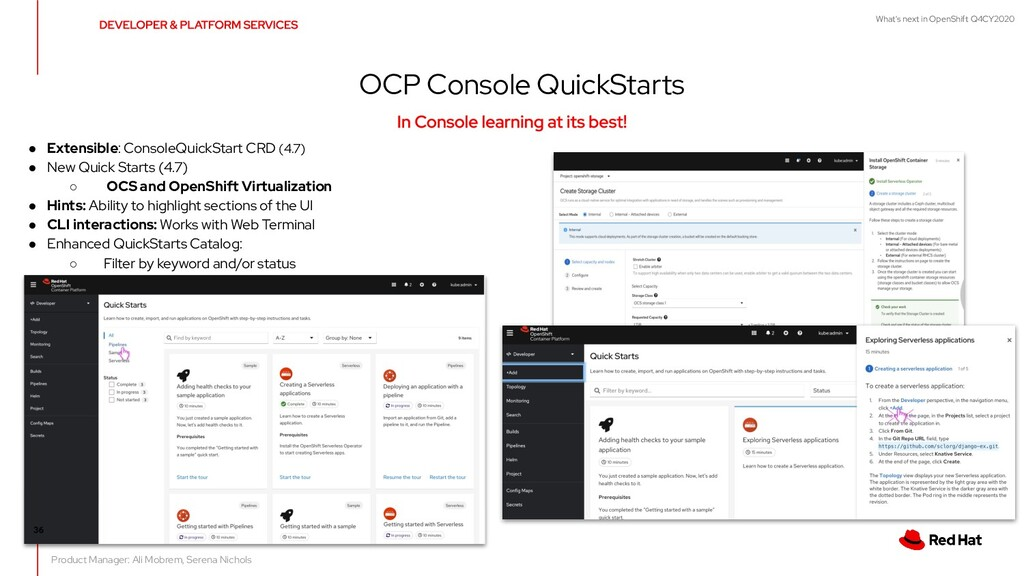 What's next in OpenShift Q4CY2020 OCP Console Q...