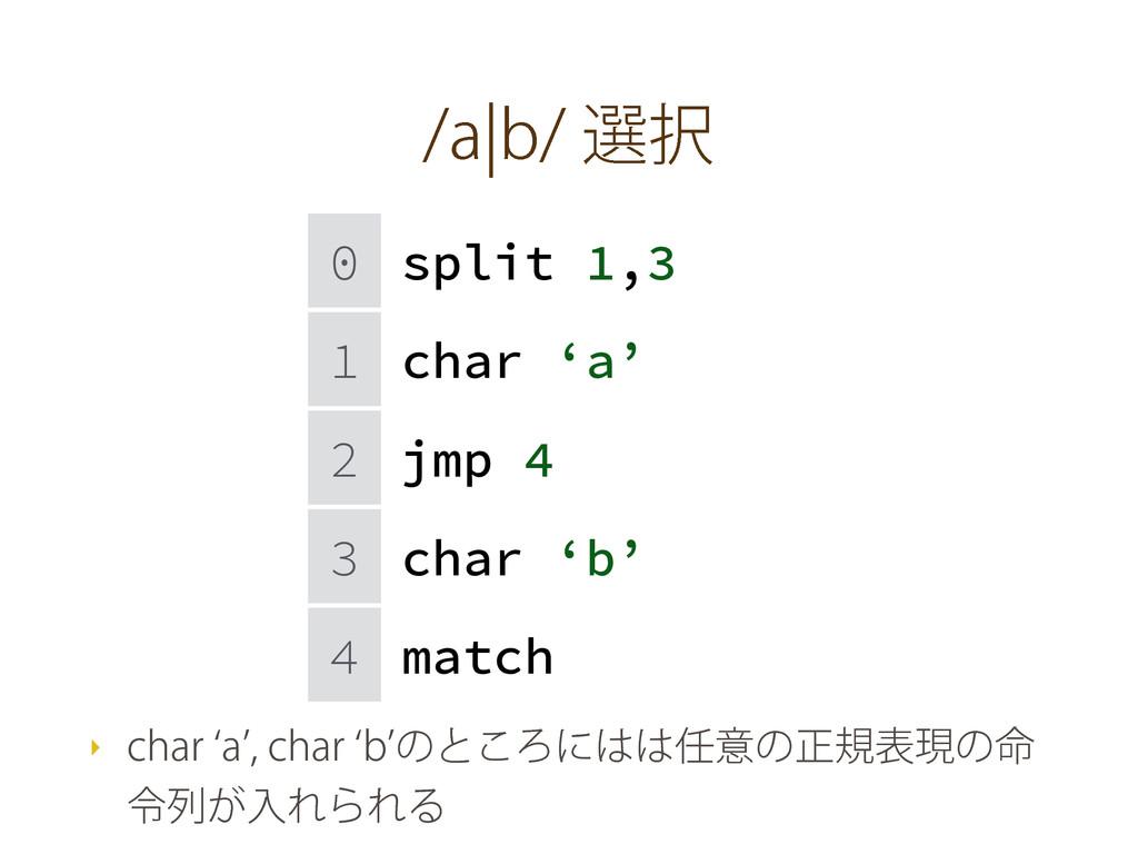 BcCબ 0 split 1,3 1 char 'a' 2 jmp 4 3 char ...