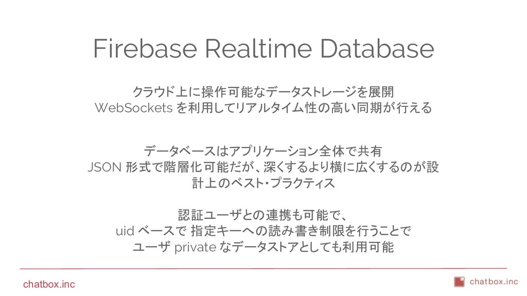 chatbox.inc Firebase Realtime Database クラウド上に操作...