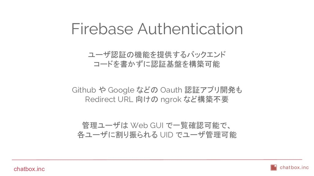 chatbox.inc Firebase Authentication ユーザ認証の機能を提供...