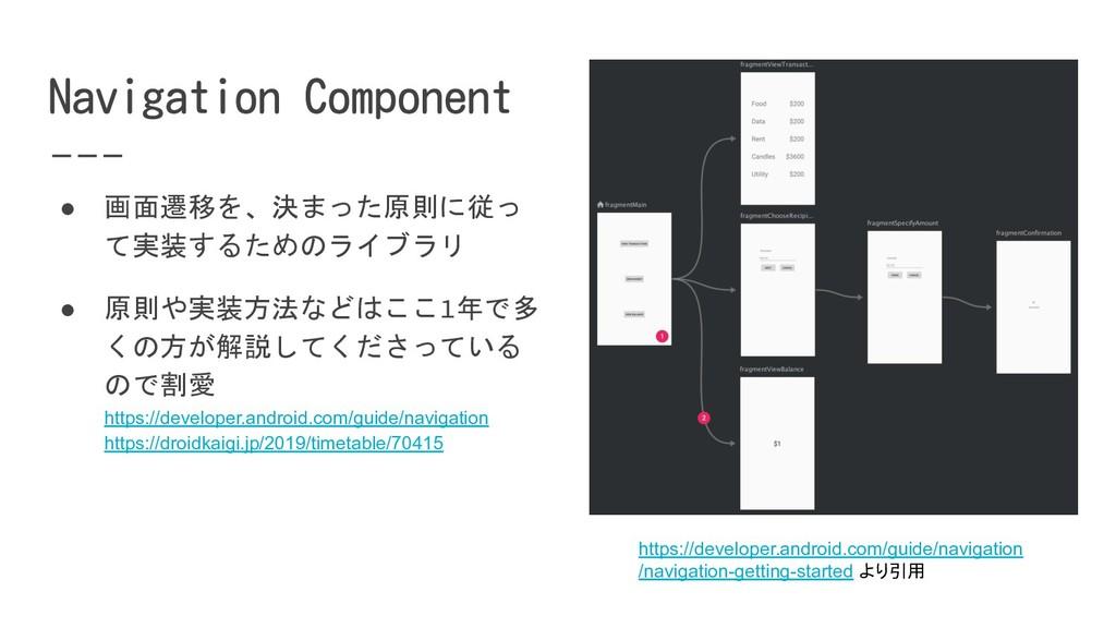 ● 画面遷移を、決まった原則に従っ て実装するためのライブラリ ● 原則や実装方法などはここ1...