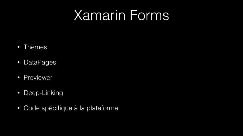 Xamarin Forms • Thèmes • DataPages • Previewer ...