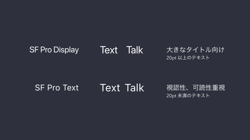 SF Pro Display SF Pro Text Text Talk Text Talk ...