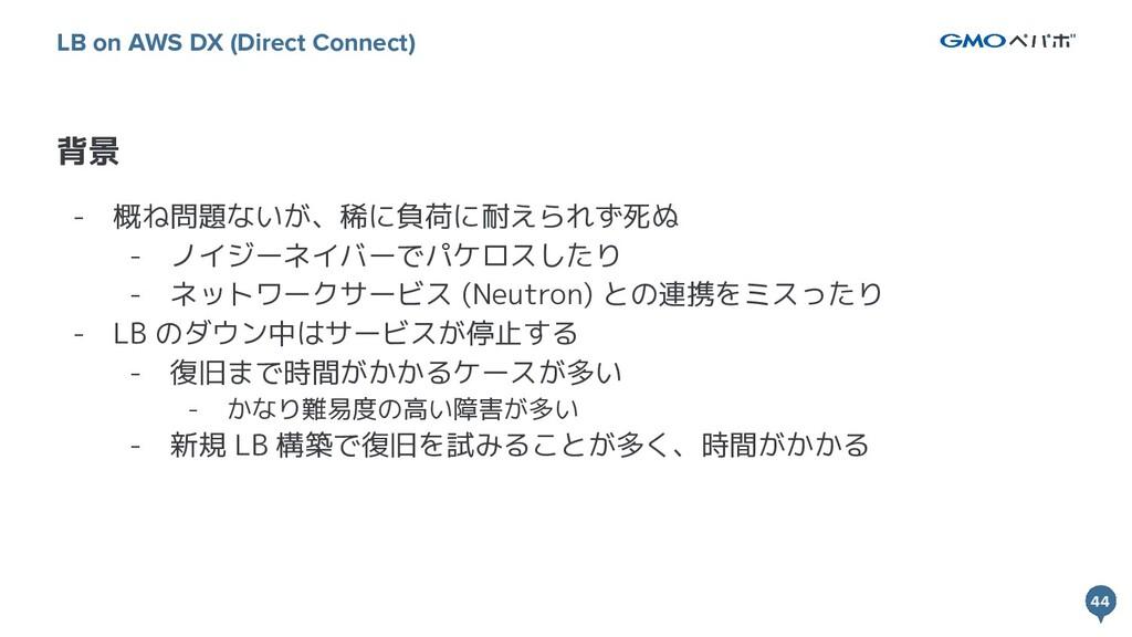 44 44 背景 LB on AWS DX (Direct Connect) - 概ね問題ない...