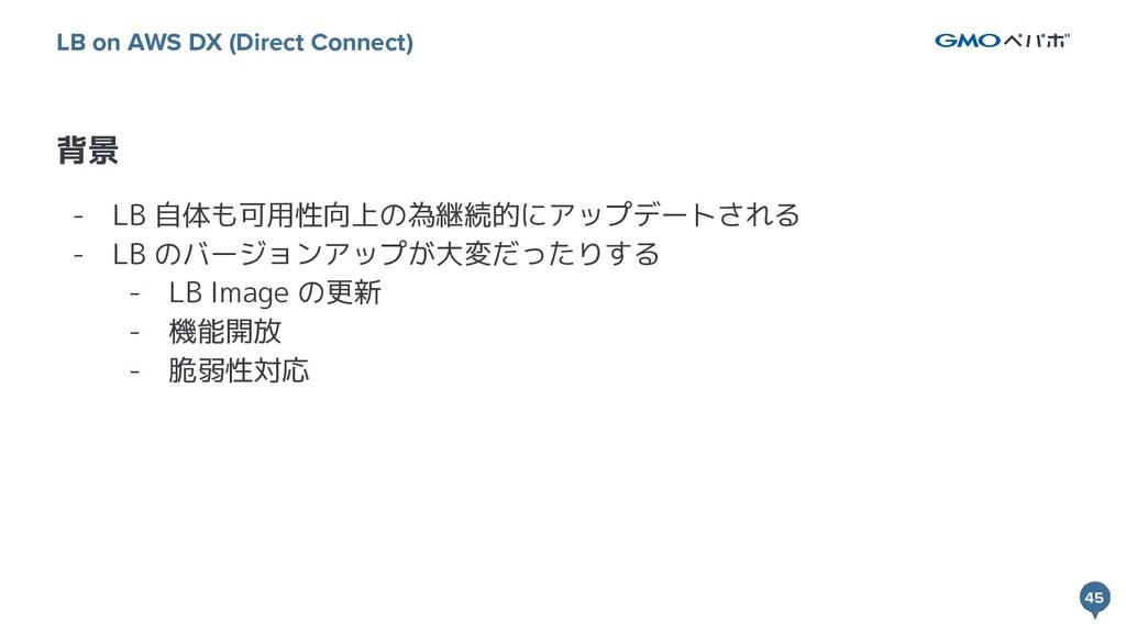 45 45 背景 LB on AWS DX (Direct Connect) - LB 自体も...